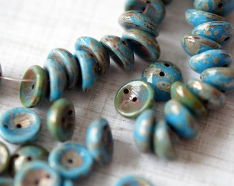 Czech Glass Beads - Maya Blue Picasso Piggy Beads - Two Hole Glass Beads - Bead Soup Beads