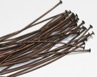 250 pcs ---- Antiqued Copper headpin 2inch long - 22 gauge