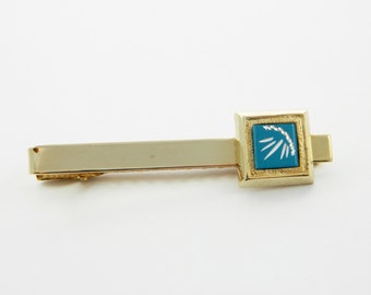 Blue Glass Gold Tie Clip