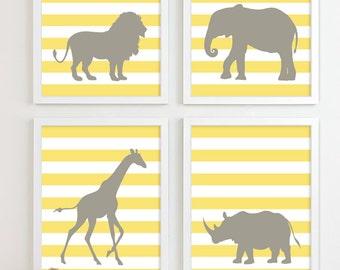 Modern Nursery Art Jungle Zoo Nursery Print, Safari Animal Kids Wall Art for Children Room Playroom, Baby Nursery Decor