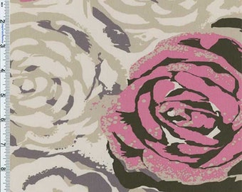 Beige/Pink Floral Decor Cotton Twill, Fabric By The Yard