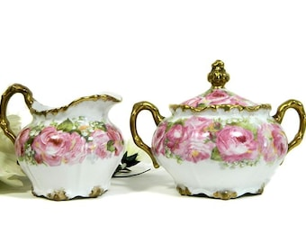 Antique Jean Pouyat Limoges Hand Painted Creamer and Sugar Bowl Pink Roses