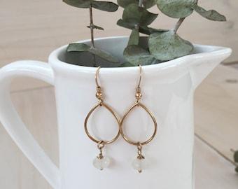 Moonstone and Gold Teardrop Earrings