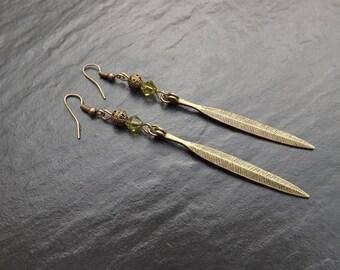 """Jenya"" swarovski crystal Tupis and 8cm long brass earrings"