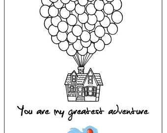 """Disney Pixar Up Movie Poster Digital PDF file 8.5 x 11 letter size Anniversary, birthday gift. Carl & Ellie. """"You are my greatest adventure"""""""
