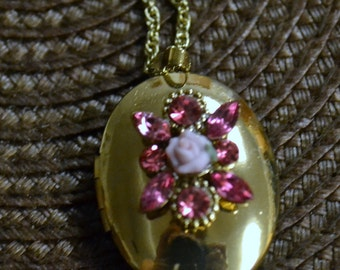 Vintage Locket with Pink Rose and Crystals