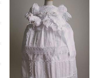 Baptism girl dress, baptism gown, christening dress, ropon desmontable