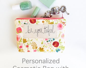 Baby Shower Hostess Thank You Gift, Floral Cosmetic Bag, Personalized Womens Gift, Hostess Gift Baby Shower, Thank You Gift, Makeup Bag
