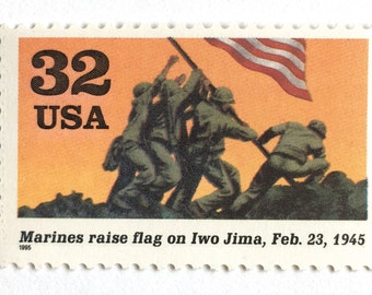 5 Flag Raising on Iwo Jima Postage Stamps // WWII Marine Soldiers Raising US Flag // Vintage Stamps for Mailing