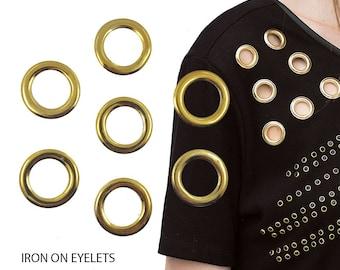 Iron On Gold Eyelets, Hot Fix Grommets,Gold Eyelets Studs, DIY Fashion 100 pcs
