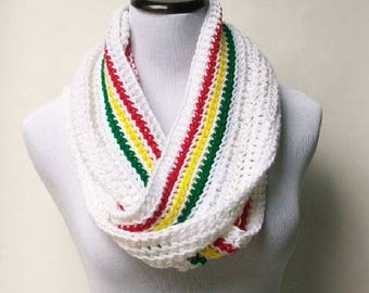 Crochet Scarf, White Afro Scarf, Handmade Scarf, Scarf With Afro Colors, Crochet Fringed Scarf, Cold Weather Scarf, Crochet Accessories ..