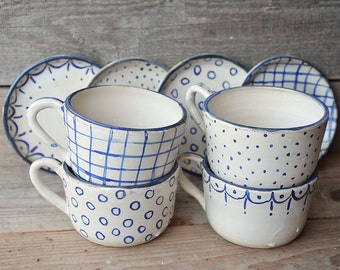 Stoneware rustic Tea Cups with saucers  - set of 4 - Rustic cream with blue decoration -  Handmade Ceramics