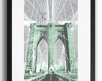 Brooklyn Bridge Print - mint