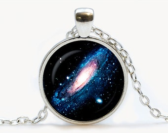 Andromeda Nebula Glass pendant. Galaxy necklace. Space, universe jewelry, birthday gift