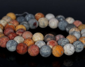 10mm Frosted Matte Sky eye Jasper Gemstone Grade AAA Round Loose Beads 15.5 inch Full Strand BULK LOT 1,2,6,12 and 50 (80003099-127)