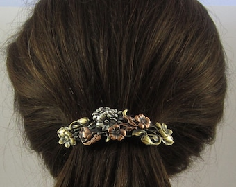 Flower French Barrette 80MM- Gifts for Gardeners- Hair Accessories- Hair Clip- Flower Barrette