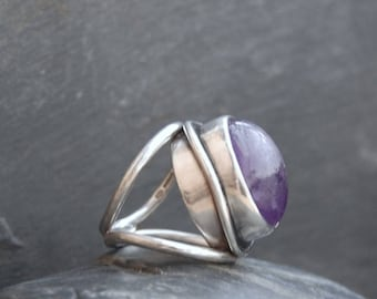 Sale Amethyst and Sterling Silver Ring.