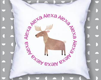 Personalized Moose Pillow Cushion Cover Pillowcase Home Decor Bed Woodland Nursery