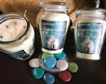 Quantum Harmony Soy Candle, 16oz Soy Candle,Glass Jar,Engraved Candle,Spiritual Candle,Dressed Candle,Scented Candle