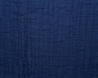 Embrace Double Gauze Fabric in Solid Embrace Cobalt(navyblue) -100% Cotton Muslin fabric by the yard