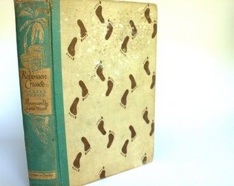 Vintage Books - Robbinson Crusoe by Daniel Defoe Illustrated Junior Edition, Special Edition, 1946, , Library,childrens books