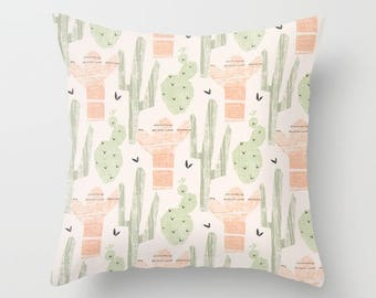 Cactus Pillow cover Succulents Pillow Cover Decorative Pillow Cover Green Pink Pillow