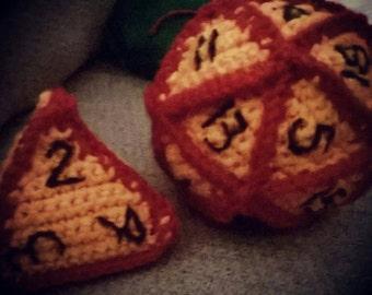 Crocheted d4 plush
