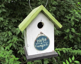 Fully functional Happy Camper Birdhouse Camping Fun Primitive Handcrafted
