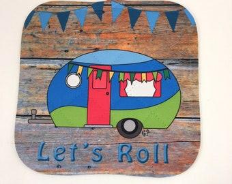 """Camper, Glamper, Vintage Camper, Pot Holders, Hot Pads, Camping Decor, """"Let's Roll"""""""