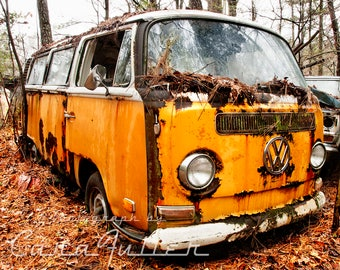 Yellow VW Bus in the woods Photograph