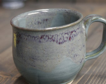 12 ounce mug, Sea Foam Green, Shinny Copper Green with dark Purple/Red Drifting throughout, Large coffee or tea mug.