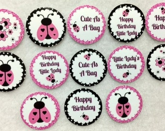 Set of 50/100/150/200 Personalized Ladybug Little Lady Birthday Party  1 Inch Confetti Circles