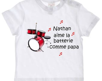 tee shirt baby love battery as personalized with name