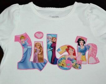Custom Personalized Princess Applique Shirt . . . Perfect for a Disney Vacation or Birthday . . . Disney Princess