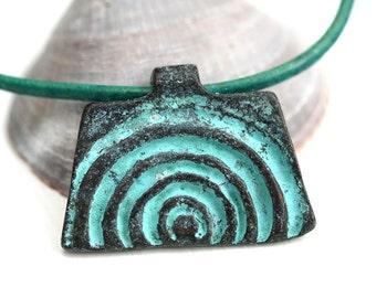 Half Spiral Pendant, Rectangle Verdigris Patina bead, boho charm Greek metal casting - 1pc - F518