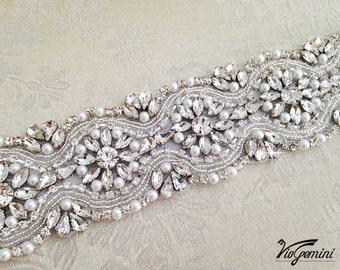 "Bridal Sash 11"" Wedding Sash Belt Crystal Sash Rhinestone Sash Belt Beaded Sash Belt"