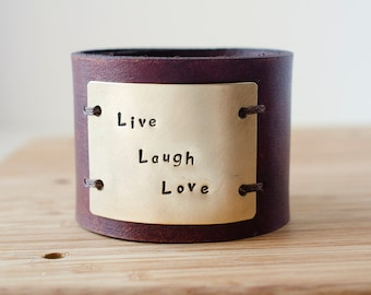 Hand Stamped Child's Name Custom Text on Wide Distressed Leather Cuff