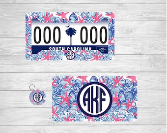 Starfish Monogram License Plate, Starfish Monogram License Plate Frame, Starfish Monogram Key Chain, lilly Pulitzer car frame