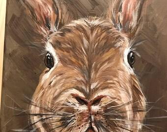50% to Charity.  Bunny Rabbit  Original Acrylic Art