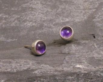 Amethyst silver studs, 925 Sterling Silver Amethyst earrings