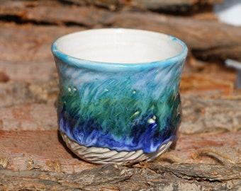 Rain forest mug, pottery mug, 10 Oz, handmade ceramic mug, carved mug, Blue drop mug, coffee mug pottery, Personalized mug, unique gift