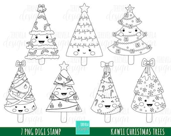 50% SALE CHRISTMAS stamp, commercial use, kawaii stamp, digi stamp, christmas tree digi stamp, digital image, coloring page, christmas trees