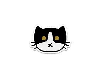 Black and White Cat Sticker, Phone Sticker, Cat Laptop Sticker, Car Sticker, Bumper Sticker, Vinyl Sticker, Cute Cat, Moo Kitty
