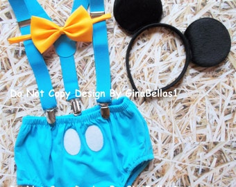 Mickey Mouse Birthday outfit cake smash costume baby blue suspenders clubhouse diaper cover bow tie invitation photo 9 12 18 24 toddler SALE
