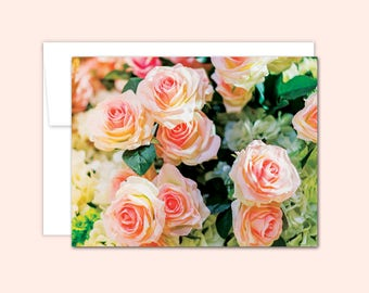 Pink Rose Notecard Set (10 cards), Hostess Gift, Wedding Cards, Thank You Cards, Cute Note Card, Greeting Card, Blank Inside, Flower Card