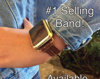 """Apple Watch Band 38mm 42mm Women Bracelet iWatch Bands """"Brown Suede Strappy Leather"""" Gold Silver Rose Gold Findings Cover Womens TimeKitSUSA"""