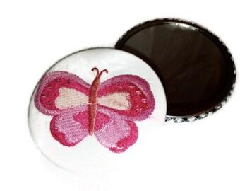 """Rosa Stickerei Spiegel Schmetterling Taschenspiegel bestickt 3"""" große"""