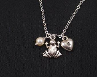 frog necklace, sterling silver filled, initial necklace, Swarovski pearl choice, silver frog charm,children gift,bridesmaids gifts,pond life