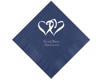 Double Hearts Wedding Napkins Personalized Set of 100 Paper Napkins