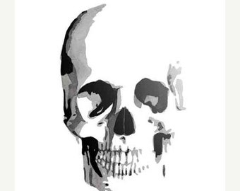 16 x 20 Skull Watercolor Giclee Print